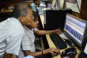 Indian Stock Trader Watching Benchmark Indices