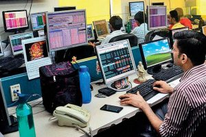Nifty 50 trader in front of Trading screen