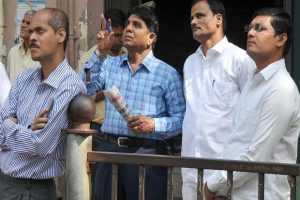 Traders standing out side BSE Building Dalal Street